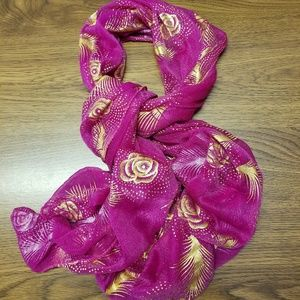 Accessories - PINK AND GOLD FASHION SCARF NEW